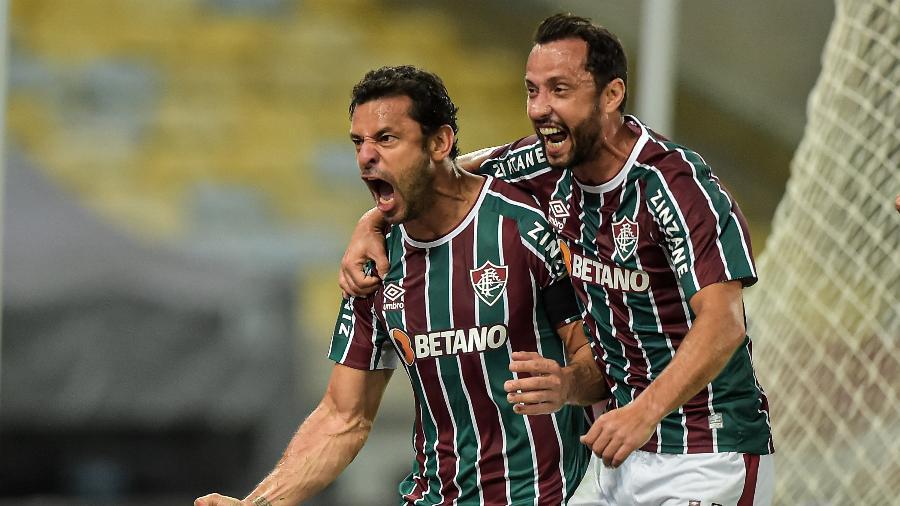 Fred e Nenê comemoram gol do Fluminense contra o Cerro Porteño pela Libertadores - Thiago Ribeiro/AGIF