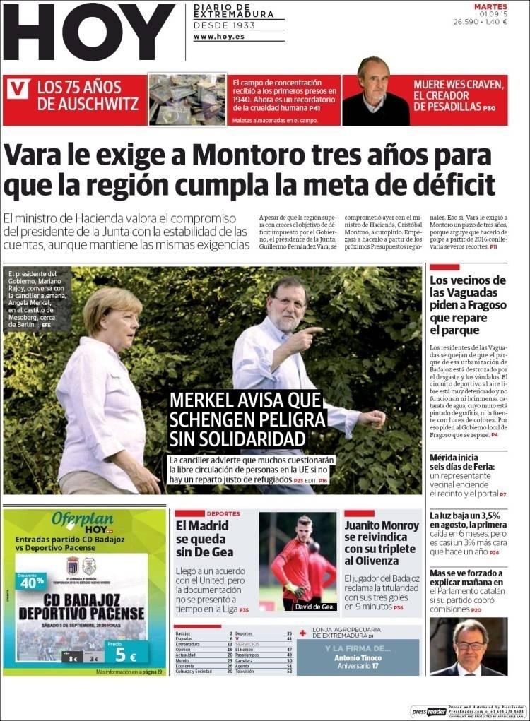 Hoy (Badajoz, Espanha): 'Real Madrid fica sem De Gea'