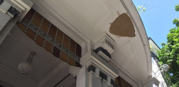 Detalhe da marquise na sede do Fluminense, nas Laranjeiras, no Rio de Janeiro
