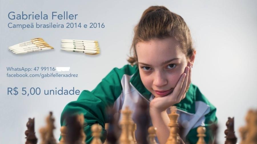Gabi vendeu canetas para participar do Mundial de xadrez - Reprodução Facebook