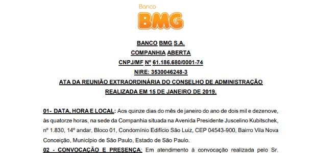 Ata de reunião do banco BMG fala em R$ 12 milhões de patrocínio (veja abaixo) - Reprodução