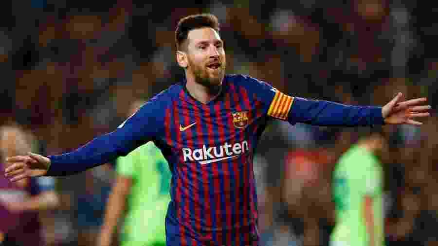 Lionel Messi comemora gol pelo Barcelona - Pau Barrena/AFP