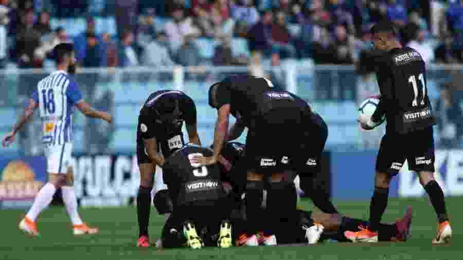 Jogadores do Botafogo celebram gol de Alex Santana contra o Avaí - Guilherme Hahn/AGIF
