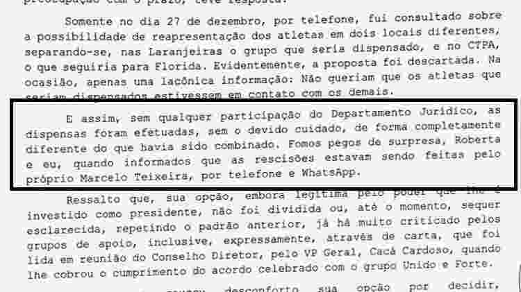 Documento do Fluminense sobre episódio de dispensa por WhatsApp - Reprodução - Reprodução