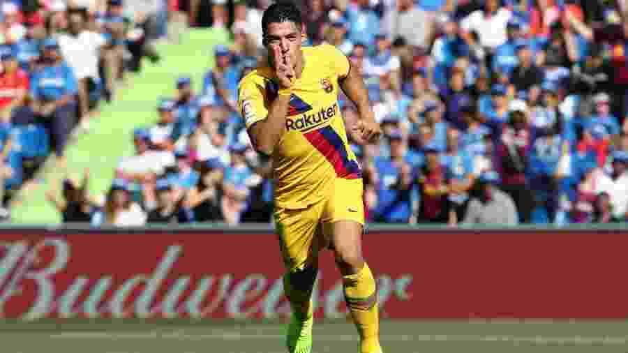 Luis Suárez comemora gol do Barcelona contra o Getafe no Campeonato Espanhol - SERGIO PEREZ/REUTERS