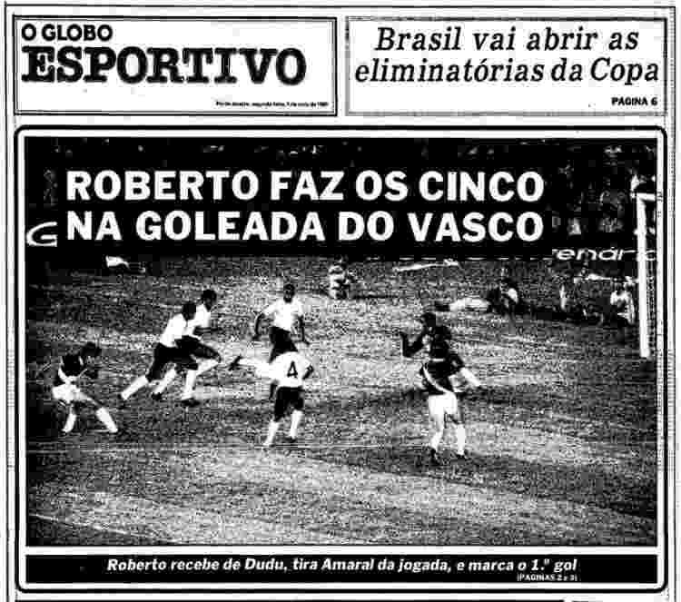 Roberto Dinamite fez cinco gols em duelo com o Corinthians; capa Globo Esportivo - Reprodução - Reprodução