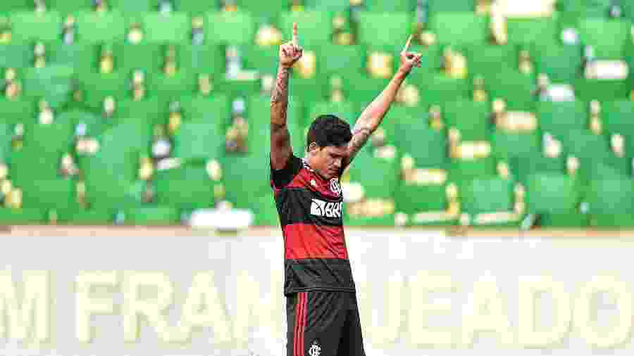 12/07/2020 - Fluminense x Flamengo - Pedro, jogador do Flamengo, comemora seu gol - Thiago Ribeiro/AGIF