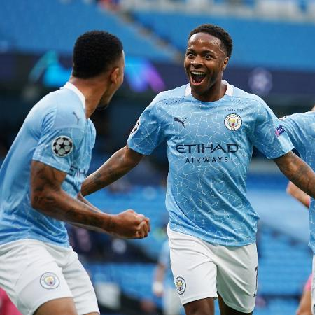 Sterling comemora gol após passe de Gabriel Jesus em Manchester City x Real Madrid - REUTERS/Dave Thompson