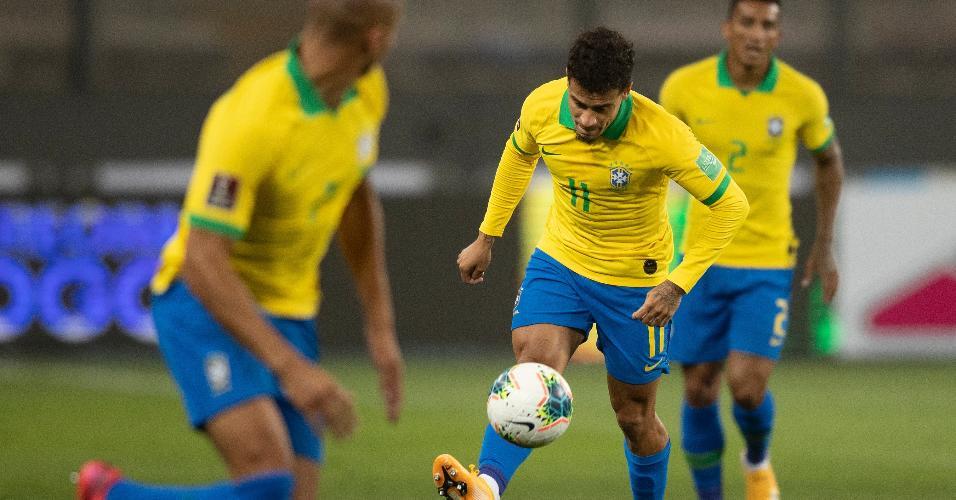 Philippe Coutinho, durante a partida entre Brasil e Peru