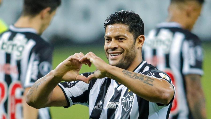 Hulk comemora gol marcado contra o La Guaira, no Minerão, em jogo da sexta rodada da fase de grupos da Libertadores 2021 - Agência I7/Mineirão