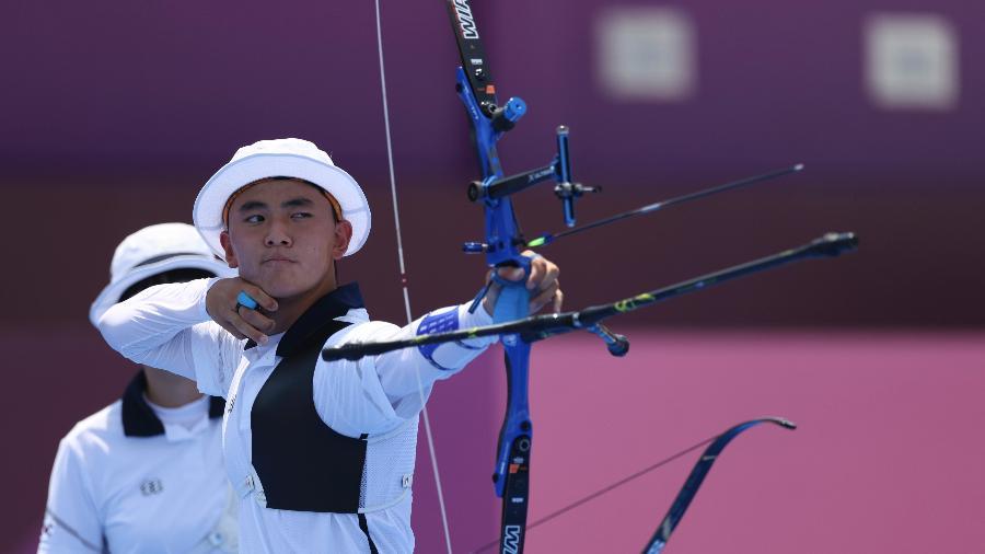 Kim Je Deok, da Coreia do Sul, no tiro com arco - Justin Setterfield/Getty Images
