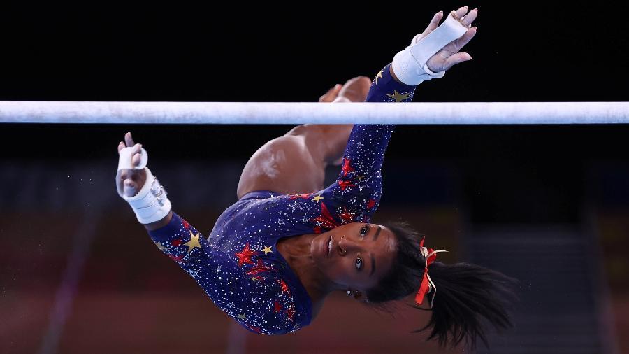25.jul.2021 - Ginasta americana Simone Biles estreia no torneio olímpico de ginástica - Mike Blake/Reuters
