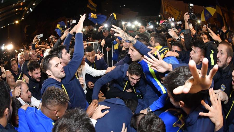 Jogadores do Boca Juniors comemoram título após derrota do Banfield - AFP PHOTO / TELAM