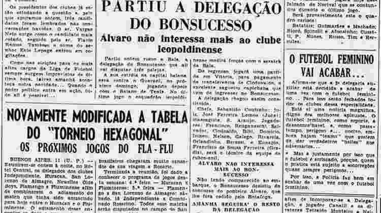 As poucas notícias sobre futebol feminino eram casos de polícia ou proibição - Arquivo Biblioteca Nacional do Rio de Janeiro - Arquivo Biblioteca Nacional do Rio de Janeiro