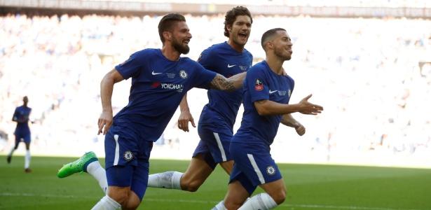 Jogadores do Chelsea comemoram gol de Hazard contra o United