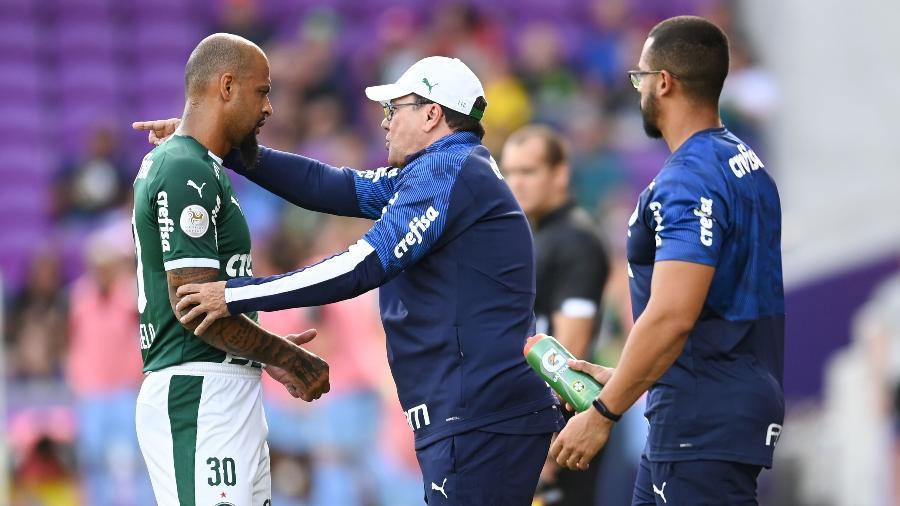 Luxemburgo orienta Felipe Melo à beira do campo durante duelo Palmeiras x New York City, pela Florida Cup - Igor Castro/Florida Cup