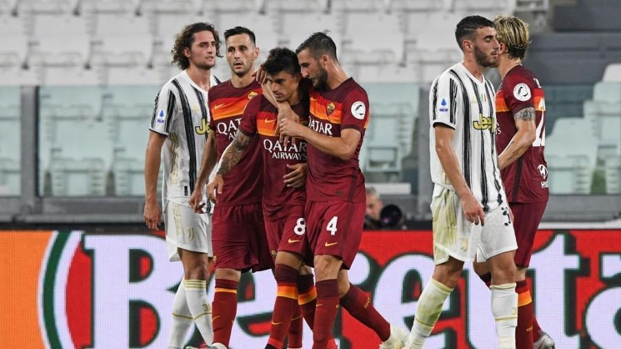 Jogadores da Roma comemoram gol de Perotti contra a Juventus - Chris Ricco/Getty Images