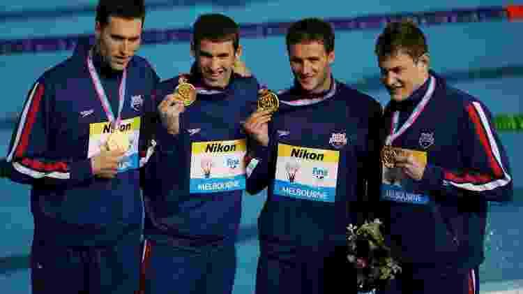 Klete Keller (primeiro à esquerda), com Michael Phelps, Ryan Lochte e Peter Vanderkaayno Mundial de natação de 2007, na Austrália  - Al Bello/Getty Images - Al Bello/Getty Images