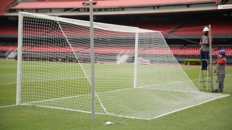 """Gol do Morumbi voltou a ter rede """"véu de noiva"""" - Divulgação/São Paulo"""