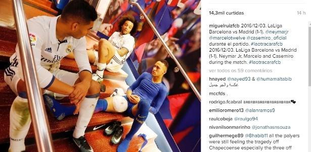Foto do fotógrafo oficial do Barça após clássico mostrou Neymar com gelo na coxa