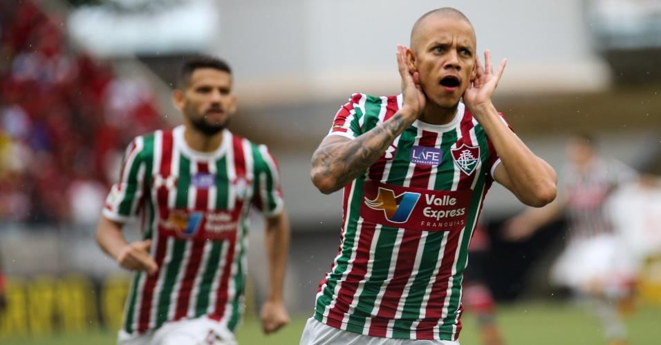Marcos Júnior comemora gol no duelo entre Fluminense e Flamengo pela Taça Rio na Arena Pantanal