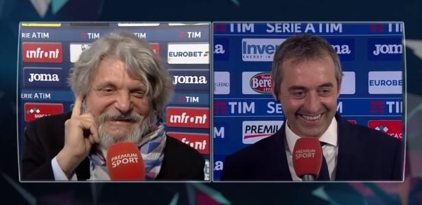 Massimo Ferrero (à direita) e o técnico da Sampdoria Giampaolo