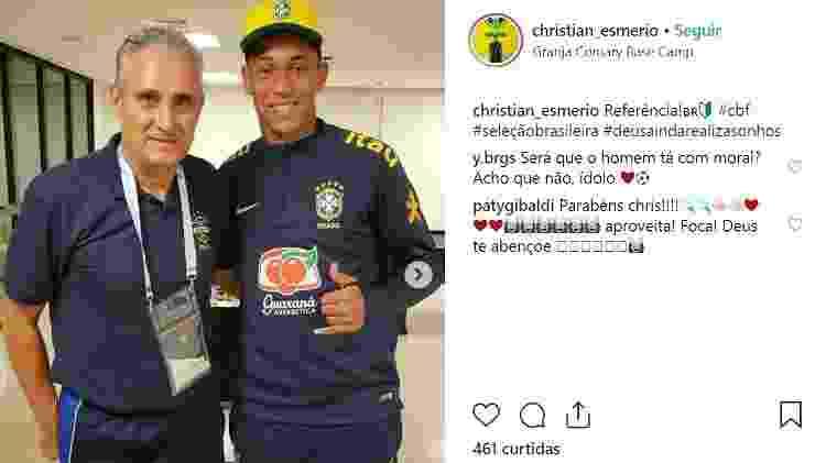 Christian e o treinador da seleção Tite - Reprodução Instagram - Reprodução Instagram