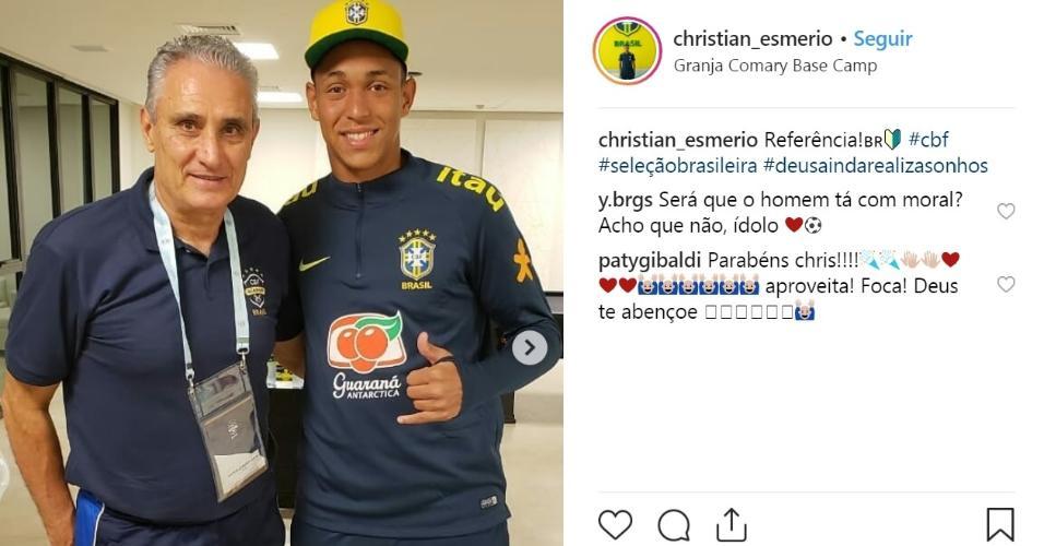 Christian e o treinador da seleção Tite