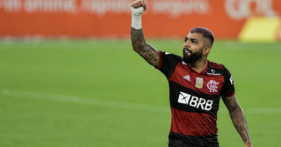 Gabigol comemora gol que marcou pelo Flamengo contra o Vasco