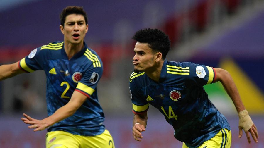 Luis Diaz comemora gol que deu a vitória para a Colômbia contra o Peru - Pedro Vilela/Getty Images