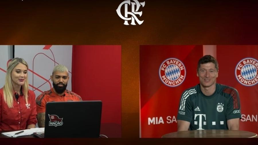 Gabigol e Lewandowski conversam em Encontro de Craques - Reprodução/Fla TV