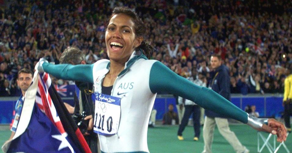Cathy Freeman em Sydney-2000, após vencer prova dos 400m