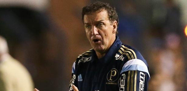 Cuca no primeiro jogo à frente do Palmeiras, na última quinta, em Montevidéu - Cesar Greco/Ag Palmeiras
