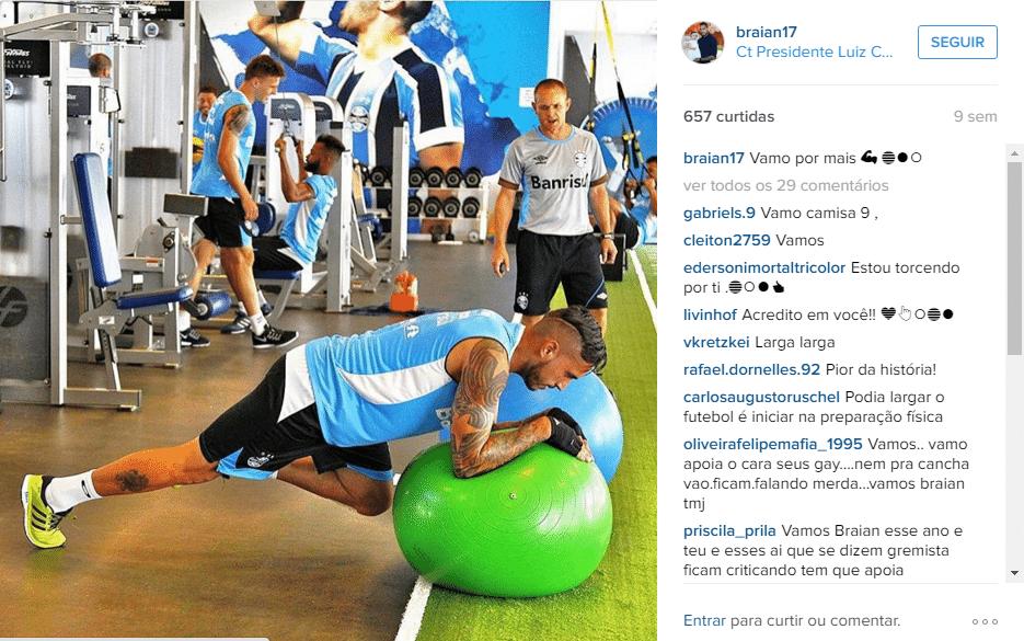 Braian Rodríguez publica foto em treinamento físico do Grêmio