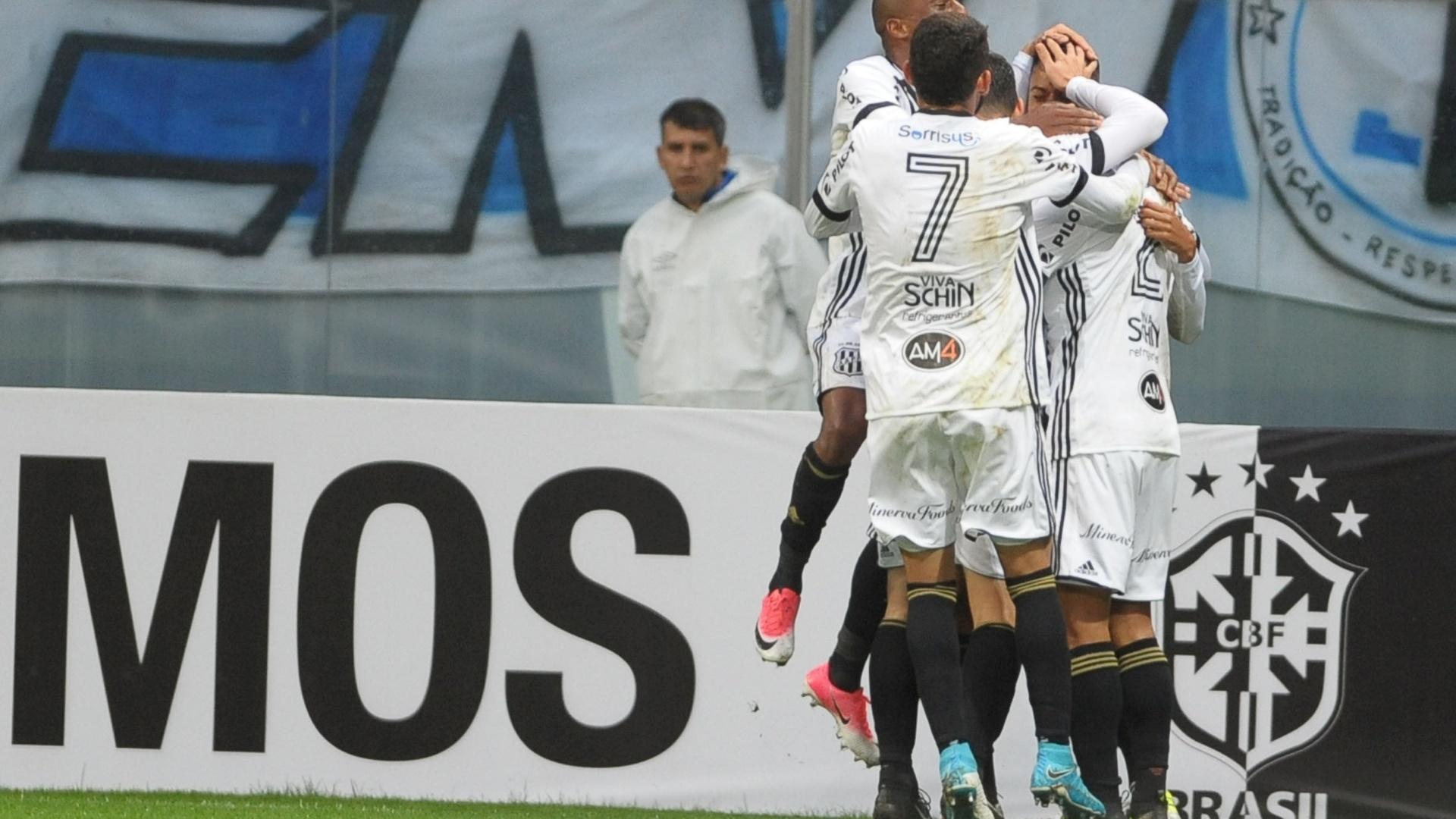 Jogadores da Ponte Preta comemoram gol contra o Grêmio