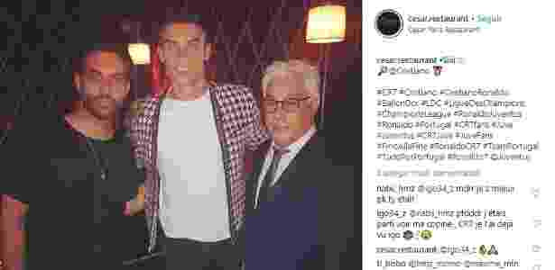 Cristiano Ronaldo no restaurante Cesar - Instagram/Reprodução - Instagram/Reprodução