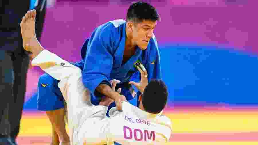 Eduardo Yudy na vitória com ippon contra o dominicano Del Orbe na final do Pan -  Abelardo Mendes Jr/ rededoesporte.gov.br