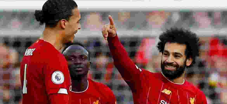 14.dez.2019 - Mohamed Salah comemora gol marcado sobre o Watford no Campeonato Inglês - Phil Noble/Reuters