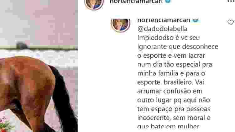 Hortência responde Dado Dolabella em sua publicação no Instagram - Reprodução/Instagram - Reprodução/Instagram