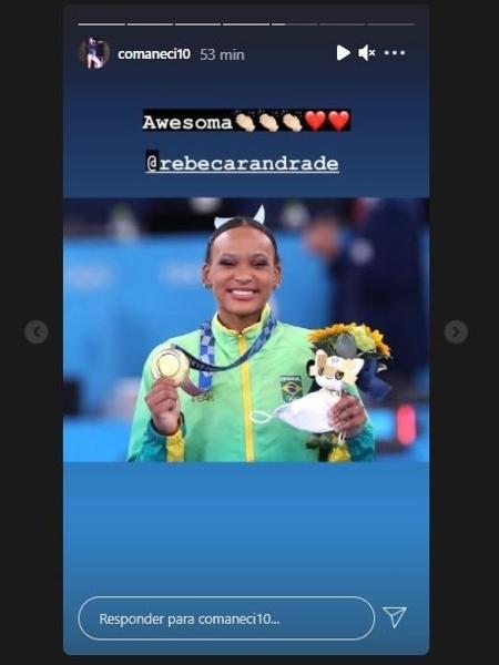 Nadia Comaneci parabeniza Rebeca por ouro no salto - Reprodução/Instagram