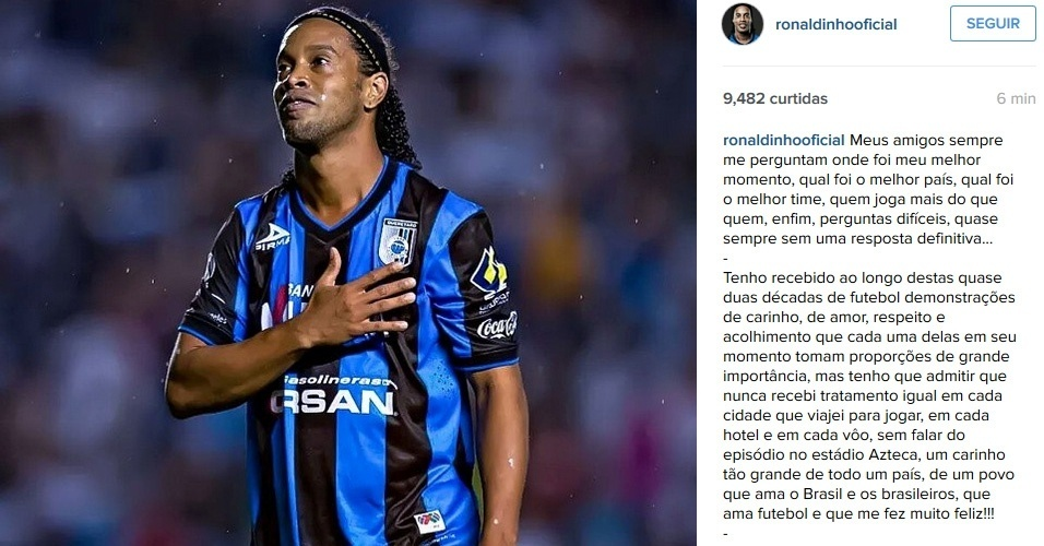 Ronaldinho Gaúcho anuncia saída do Querétaro