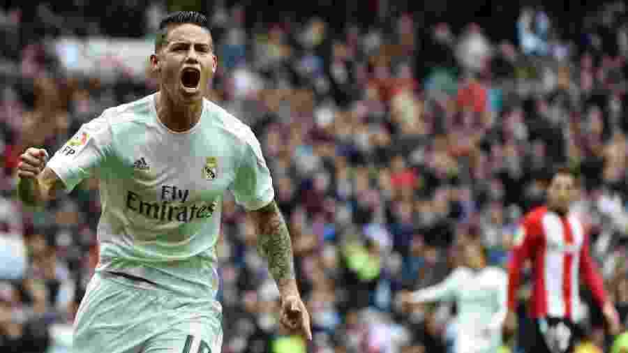 James Rodriguez comemora gol marcado pelo Real Madrid no Campeonato Espanhol - AFP / GERARD JULIEN