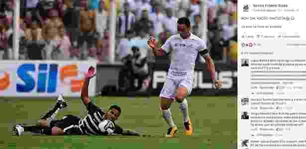 Santos provoca o Corinthians com o lance de Ricardo Oliveira sobre Yago - Reprodução/Facebook oficial do Santos - Reprodução/Facebook oficial do Santos