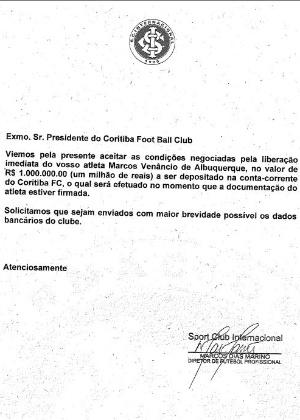 Coritiba divulgou documento do Internacional sobre a transferência de Ceará