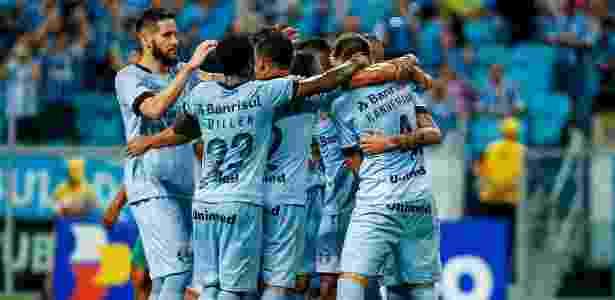 Jogadores do Grêmio comemoram vitória sobre o Juventude, na Arena - Lucas Uebel/Grêmio