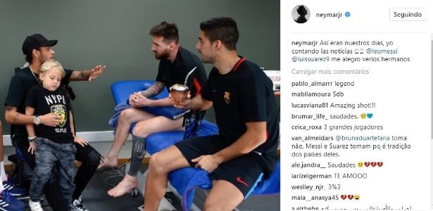 Neymar visitou treinamento do Barcelona e postou foto com Messi e Suárez - Reprodução/Instagram