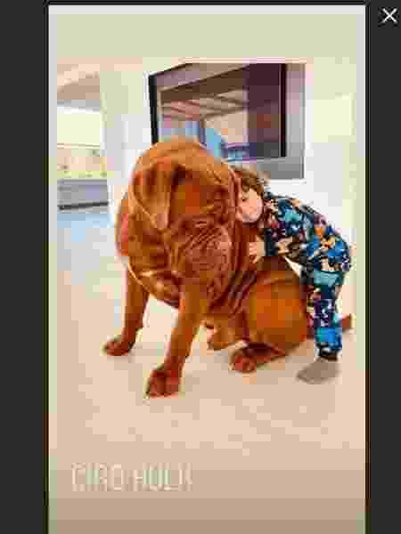 Ciro, filho de Lionel Messi, ao lado do cachorro da família  - Reprodução