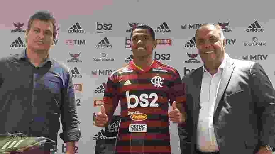 Pedro Rocha é apresentado oficialmente pelo Flamengo no centro de treinamento Ninho do Urubu - Leo Burlá / UOL Esporte