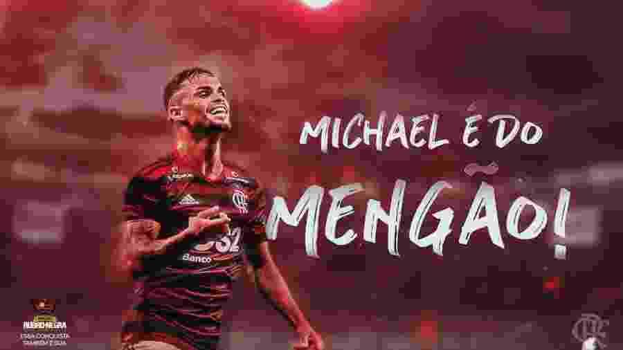 Atacante Michael foi o terceiro reforço anunciado pelo Flamengo neste mercado da bola - Reprodução