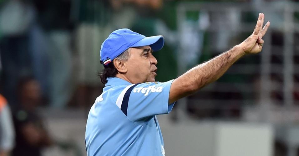 Marcelo Oliveira orienta o Palmeiras na beira do campo no jogo contra o Rosario